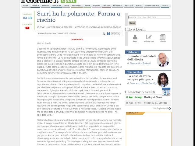 Sarri ha la polmonite, Parma a rischio