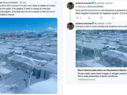 Un'altra foto-bufala sulla neve ad Amatrice, in realtà è un campo profughi in Libano
