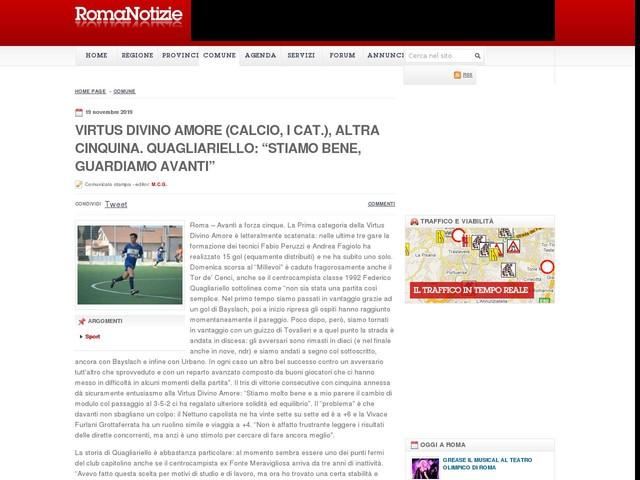 """Virtus Divino Amore (calcio, I cat.), altra cinquina. Quagliariello: """"Stiamo bene, guardiamo avanti"""""""