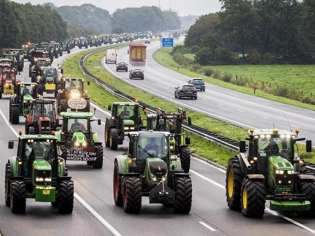 """La protesta dei contadini olandesi contro la politica agricola """"verde"""" del governo"""