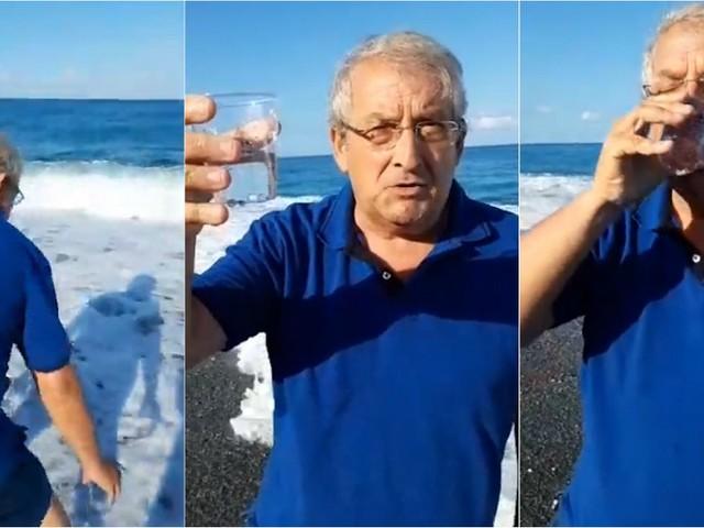 """Diamante, il sindaco Ernesto Magorno (Pd) si beve un bicchiere d'acqua di mare: """"Inquinato? Così i chiacchieroni la finiranno di denigrarci"""""""