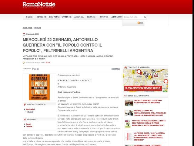 """Mercoledì 22 gennaio, ANTONELLO GUERRERA con """"IL POPOLO CONTRO IL POPOLO"""", Feltrinelli Argentina"""