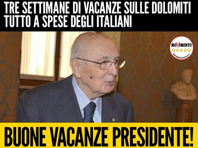 Le vacanze dorate di Re Giorgio (Napolitano) a spese dei cittadini