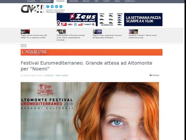 """Festival Euromediterraneo. Grande attesa ad Altomonte per """"Noemi"""""""