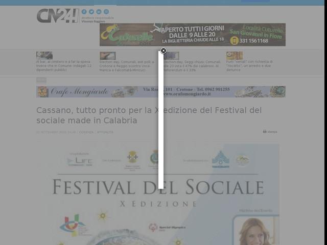 Cassano, tutto pronto per la X edizione del Festival del sociale made in Calabria