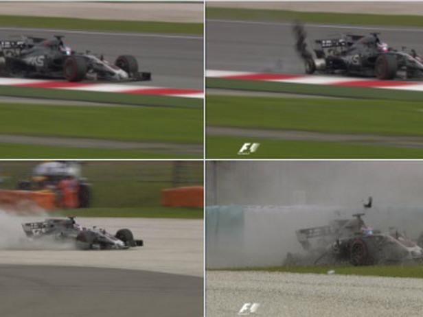 Sepang, salta un tombino: incidente per Grosjean