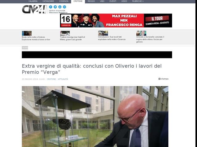 """Extra vergine di qualità: conclusi con Oliverio i lavori del Premio """"Verga"""""""
