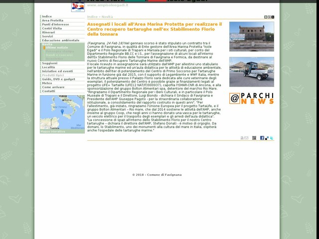AMP Isole Egadi - Assegnati i locali all'Area Marina Protetta per realizzare il Centro recupero tartarughe nell'ex Stabilimento Florio della tonnara