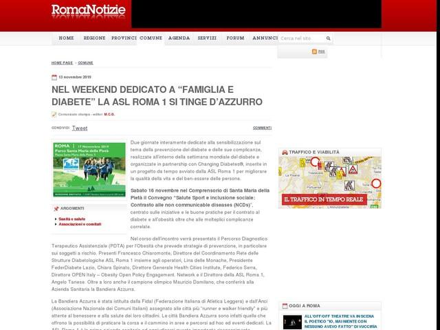 """NEL WEEKEND DEDICATO A """"FAMIGLIA E DIABETE"""" LA ASL ROMA 1 SI TINGE D'AZZURRO"""