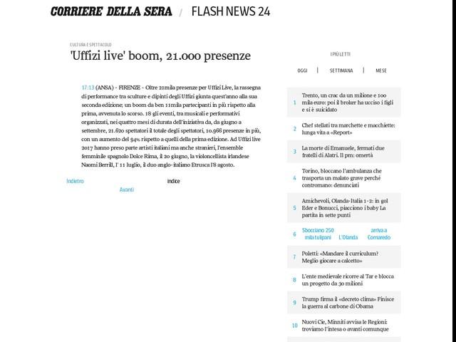 'Uffizi live' boom, 21.000 presenze