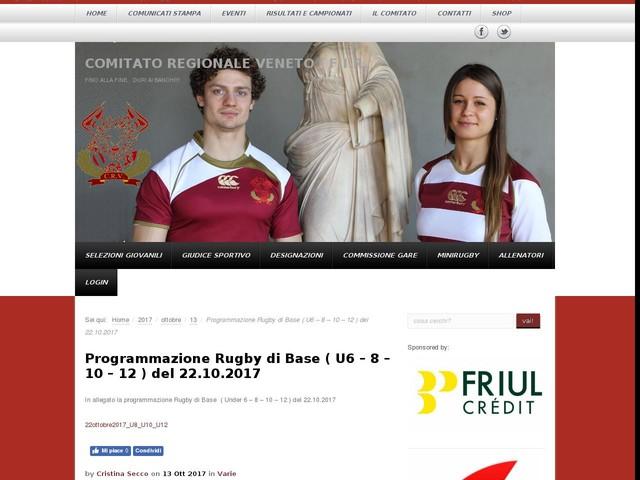 Programmazione Rugby di Base ( U6 – 8 – 10 – 12 ) del 22.10.2017
