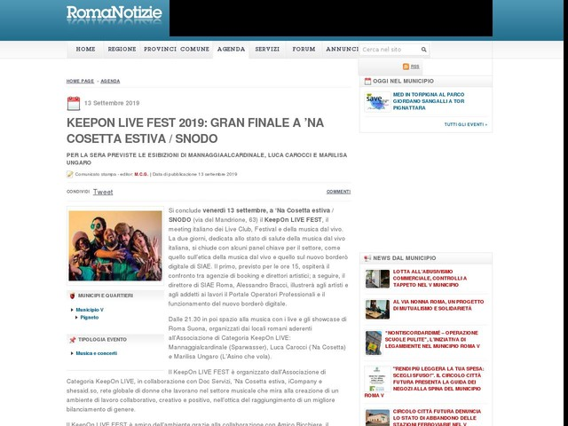 KeepOn LIVE FEST 2019: gran finale a 'Na Cosetta estiva / SNODO