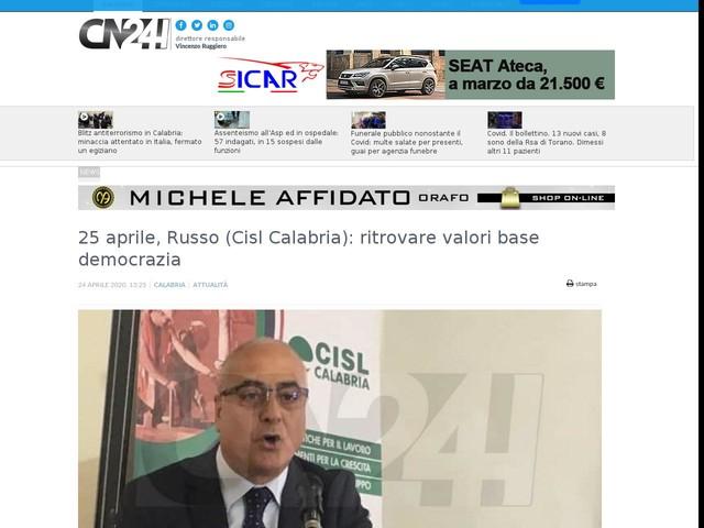 25 aprile, Russo (Cisl Calabria): ritrovare valori base democrazia