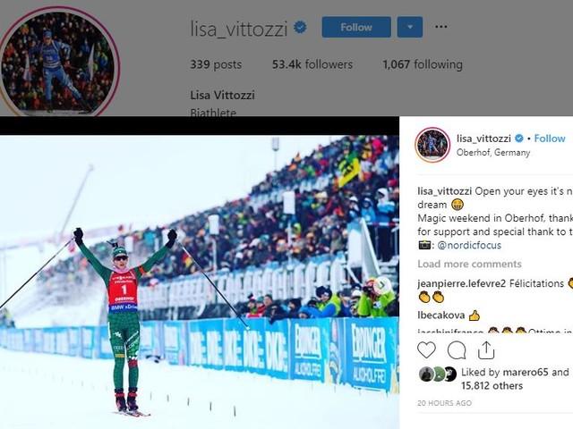 Lisa Vittozzi dopo la gara sprint trionfa anche nell'inseguimento