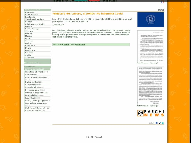 Federparchi - Ministero del Lavoro, ai politici No indennità Covid