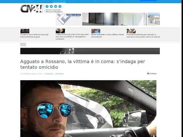 Agguato a Rossano, la vittima è in coma: s'indaga per tentato omicidio