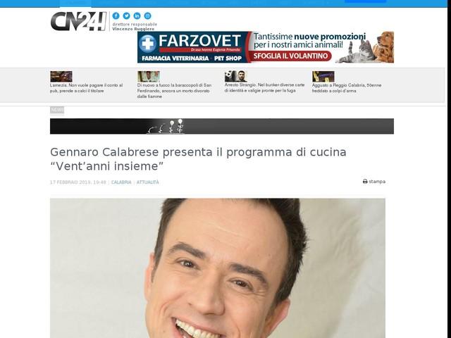 """Gennaro Calabrese presenta il programma di cucina """"Vent'anni insieme"""""""