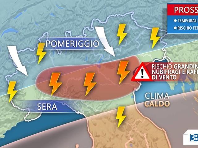 Meteo Italia: TEMPORALI IMMINENTI al Nord, rischio GRANDINE e NUBIFRAGI [MAPPE]