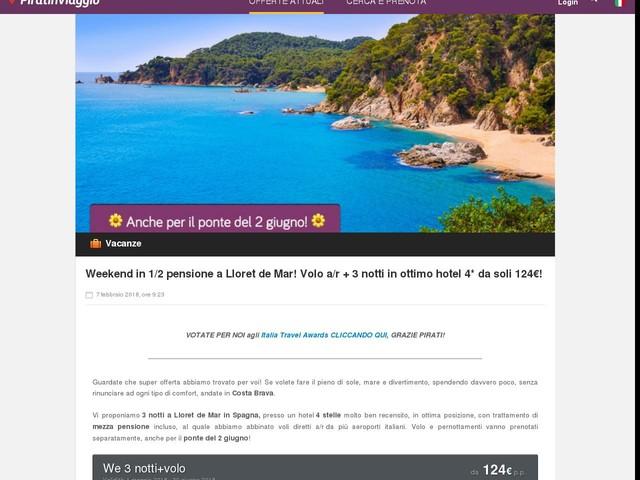 Weekend in 1/2 pensione a Lloret de Mar! Volo a/r + 3 notti in ottimo hotel 4* da soli 124€!