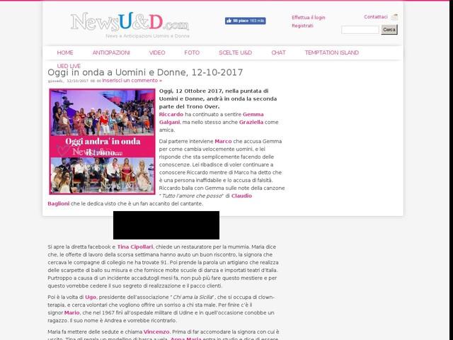 Oggi in onda a Uomini e Donne, 12-10-2017