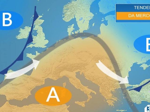 Meteo Italia- Da mercoledì spazio nuovamente all'alta pressione