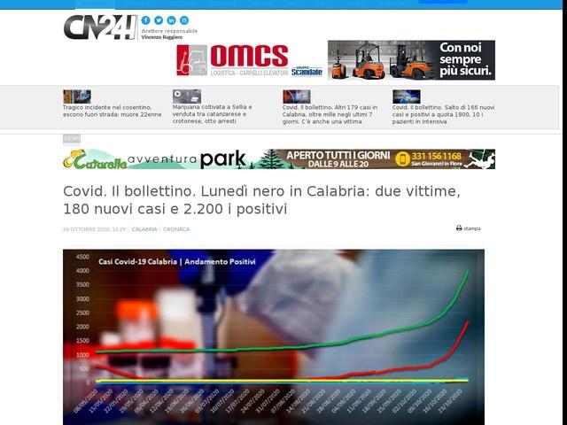 Covid. Il bollettino. Lunedì nero in Calabria: due vittime, 180 nuovi casi e 2.200 i positivi