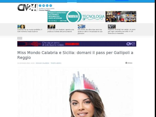 Miss Mondo Calabria e Sicilia: domani il pass per Gallipoli a Reggio