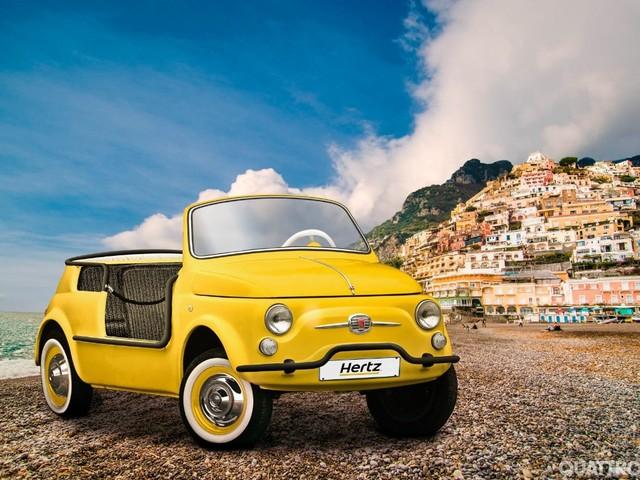 Hertz - A spasso con la spiaggina Fiat 500 Jolly Icon-e