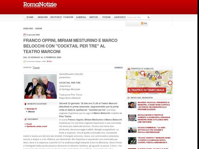 """Franco Oppini, Miriam Mesturino e Marco Belocchi con """"Cocktail per tre"""" al Teatro Marconi"""
