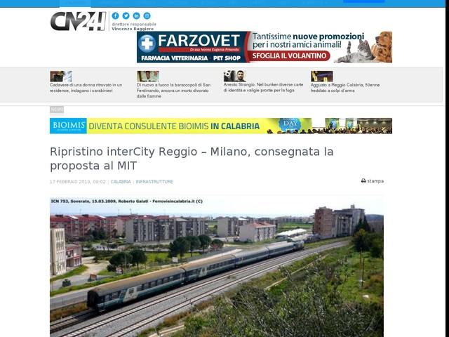 Ripristino interCity Reggio – Milano, consegnata la proposta al MIT