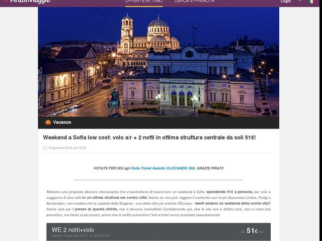 Weekend a Sofia low cost: volo a/r + 2 notti in ottima struttura centrale da soli 51€!