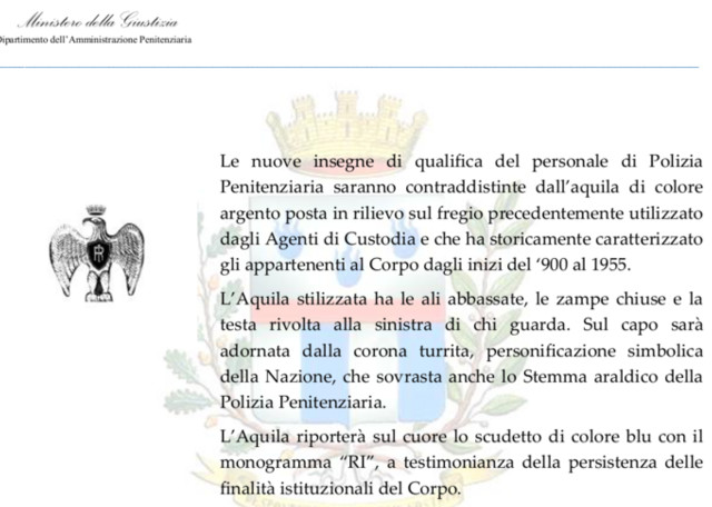 Polizia penitenziaria, sui distintivi torna l'aquila romana