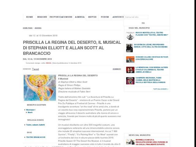Priscilla la regina del deserto, il musical di Stephan Elliott e Allan Scott al Brancaccio