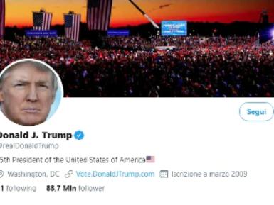 «Incitamento alla violenza» Twitter sospende l'account del presidente Trump
