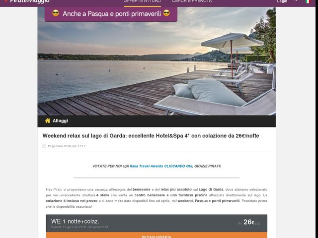 Weekend relax sul lago di Garda: eccellente Hotel&Spa 4* con colazione da 26€/notte