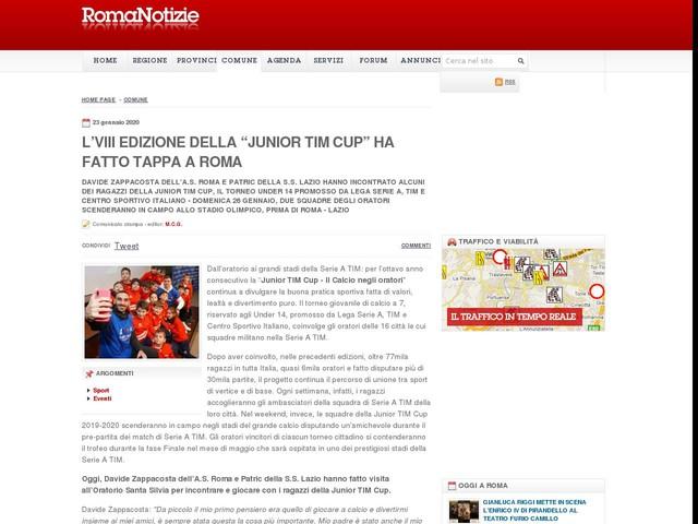 """L'VIII EDIZIONE DELLA """"JUNIOR TIM CUP"""" HA FATTO TAPPA A ROMA"""