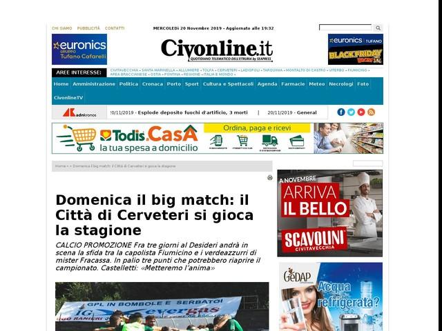 Domenica il big match: il Città di Cerveteri si gioca la stagione