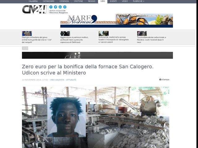 Zero euro per la bonifica della fornace San Calogero. Udicon scrive al Ministero