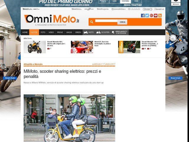 MiMoto, scooter sharing elettrico: prezzi e penalità