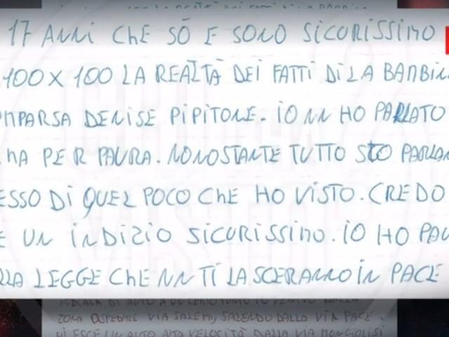 """Denise Pipitone, """"Chi l'ha visto?"""" svela il contenuto della lettera anonima"""