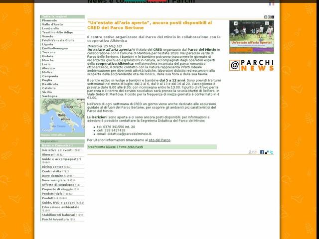 """AREA Parchi - """"Un'estate all'aria aperta"""", ancora posti disponibili al CRED del Parco Bertone"""