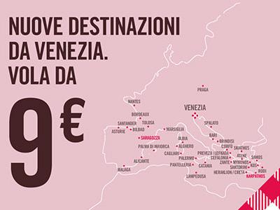 Volotea: Nuove rotte da Venezia e biglietti da 9€