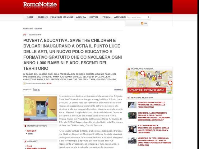Povertà educativa: Save the Children e Bvlgari inaugurano a Ostia il Punto Luce delle Arti, un nuovo polo educativo e formativo gratuito che coinvolgerà ogni anno 1.000 bambini e adolescenti del territorio