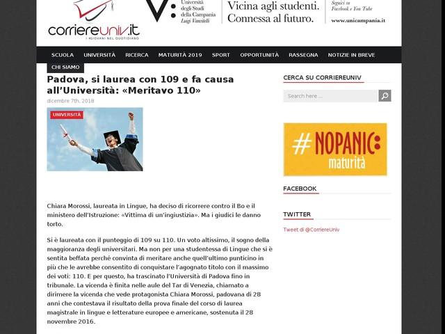 Padova, si laurea con 109 e fa causa all'Università: «Meritavo 110»