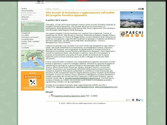 Riserva MAB Appennino Tosco-Emiliano - Otto incontri di formazione e aggiornamento nell'ambito del progetto Geosfera Appennino