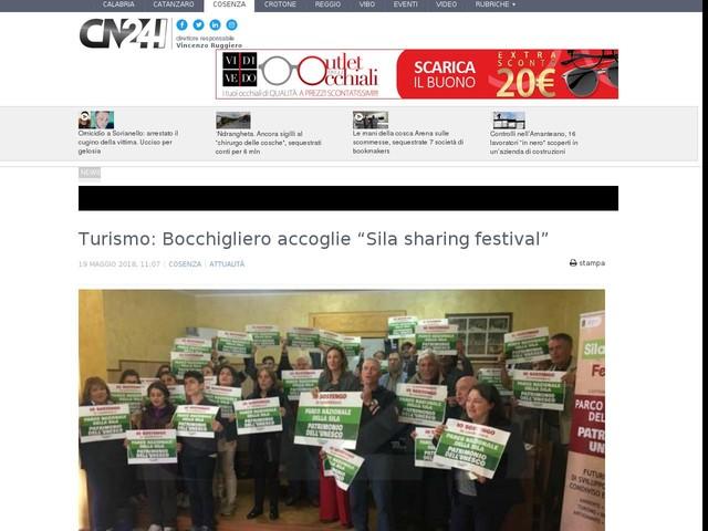 """Turismo: Bocchigliero accoglie """"Sila sharing festival"""""""