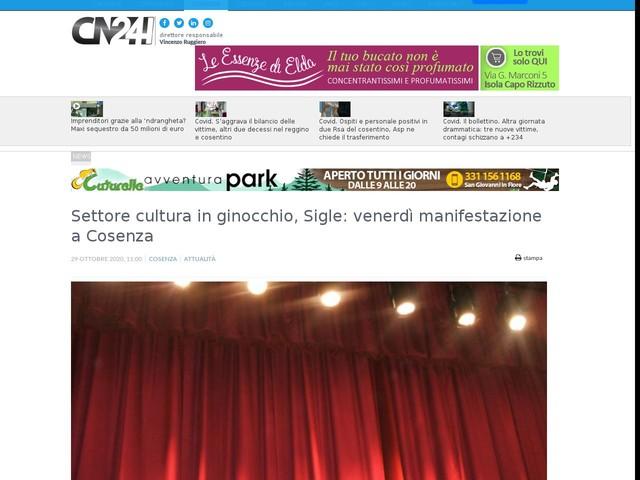 Settore cultura in ginocchio, Sigle: venerdì manifestazione a Cosenza