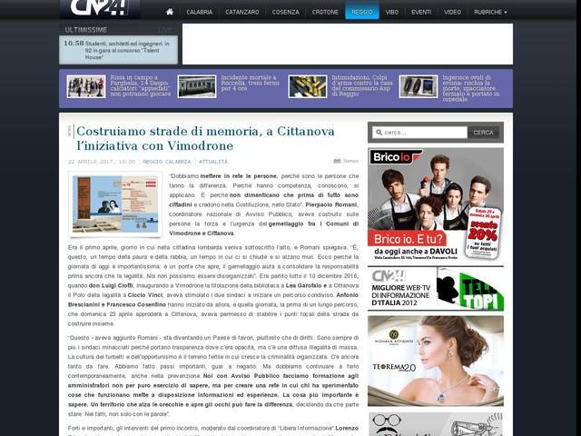 Costruiamo strade di memoria, a Cittanova l'iniziativa con Vimodrone