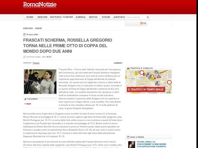 Frascati Scherma, Rossella Gregorio torna nelle prime otto di Coppa del Mondo dopo due anni