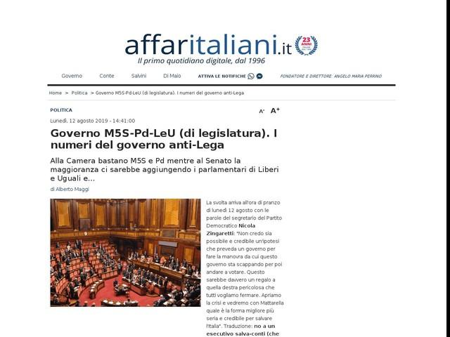 Governo M5S-Pd-LeU (di legislatura). I numeri del governo anti-Lega